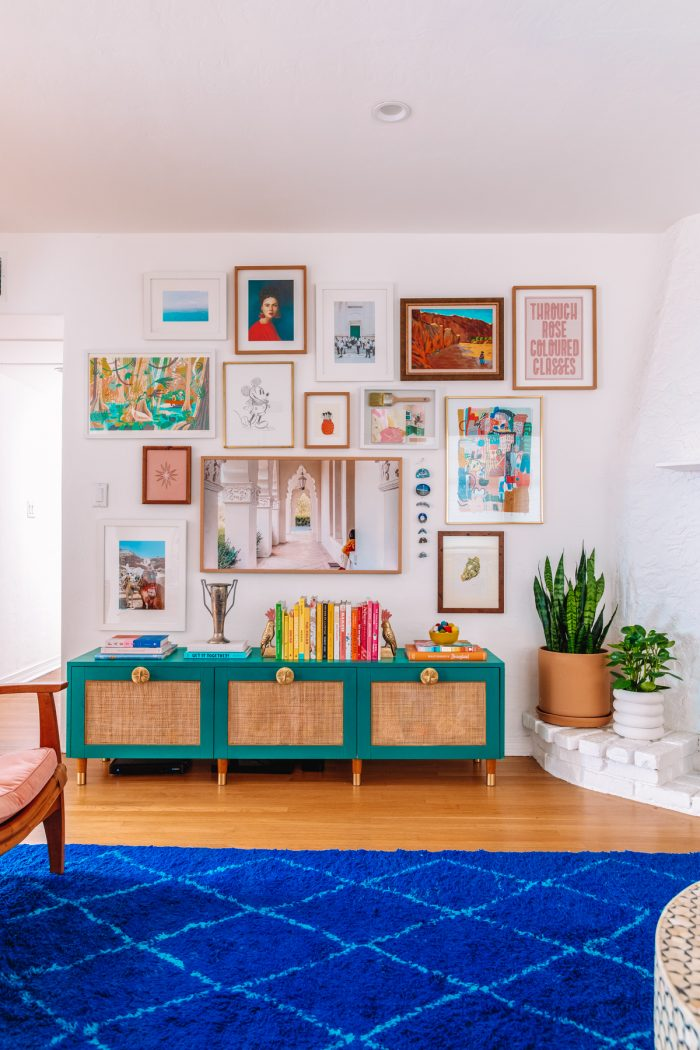 Colorful Gallery Wall and DIY Rattan IKEA Hack Media Console