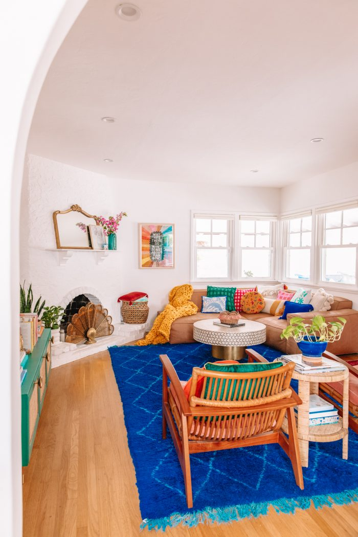 Colorful Living Room with a Blue Rug