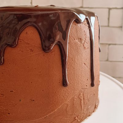 Chocolate Cake with Chocolate Frosting and Chocolate Ganache