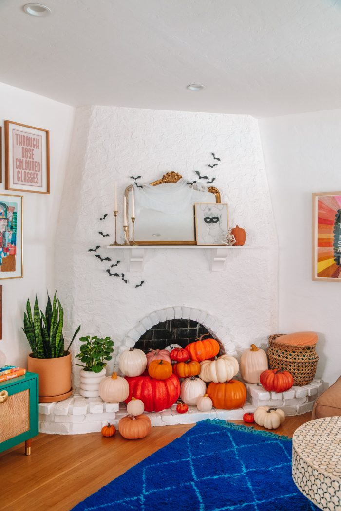 Pumpkin Filled Fireplace