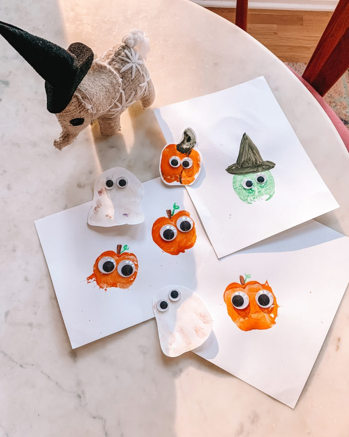Halloween Toddler Crafts - Apple Stamp Pumpkins and Witches