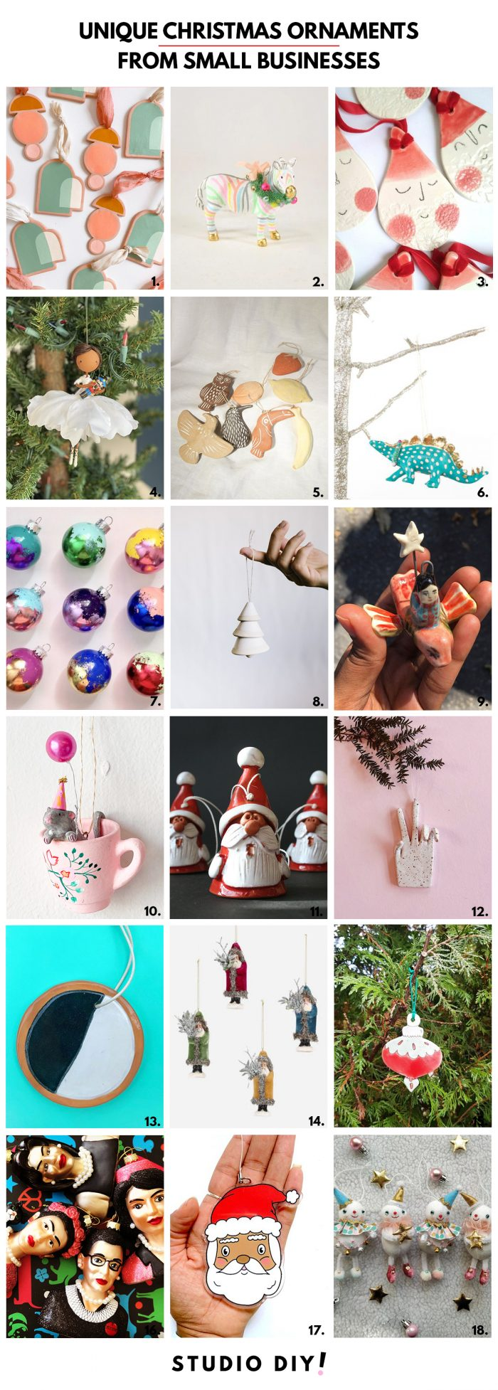 Colorful & Unique Christmas Ornaments from Small Businesses