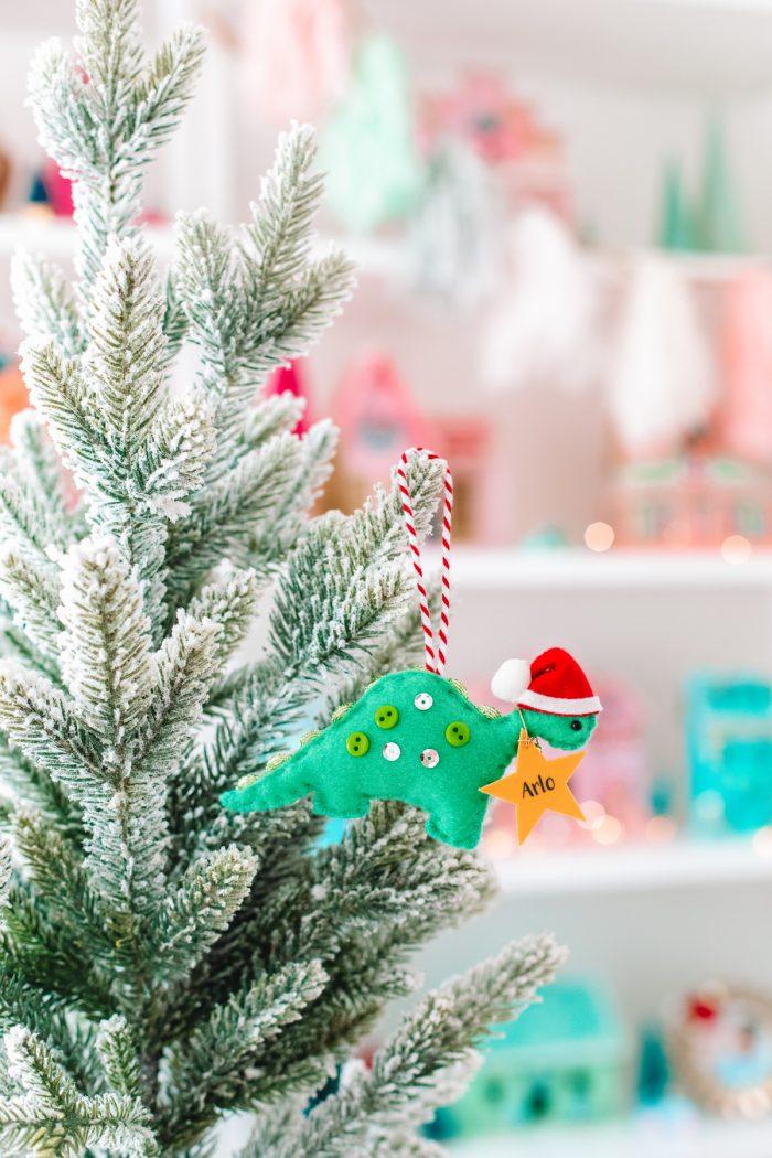 Non-Breakable Ornaments for Kids - Felt Dinosaur Ornament