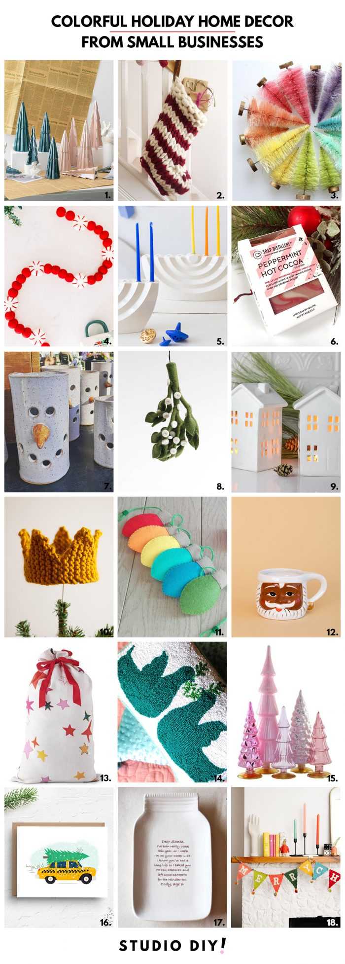 Colorful Holiday Home Decor Finds from Small Businesses