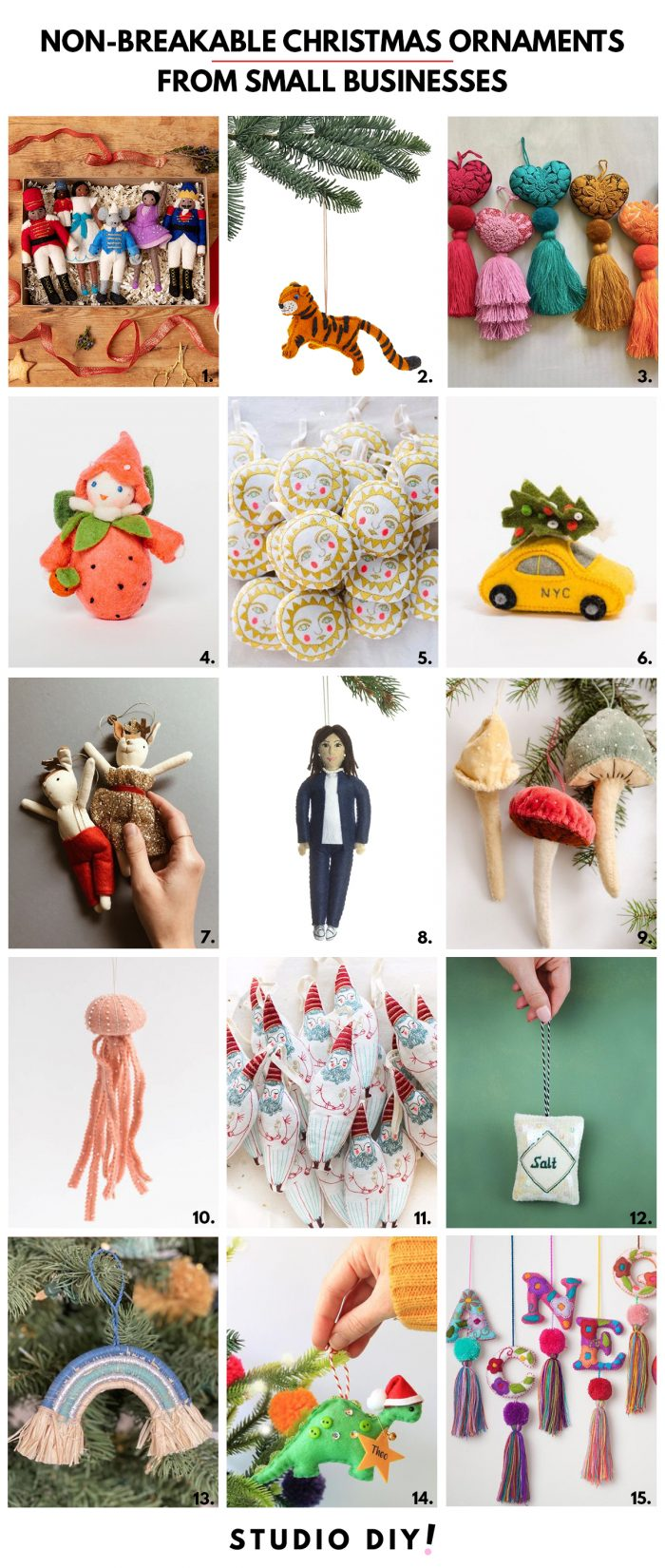 Non-Breakable Christmas Ornaments for Kids from Small Businesses