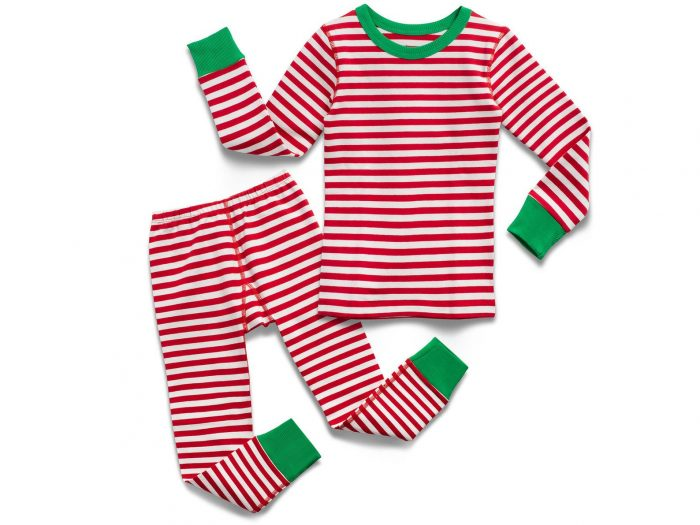 Red Stripe Christmas Pajamas with Green Trim