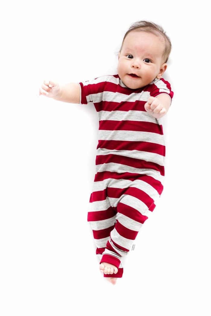 Red Stripe Romper Christmas Pajamas