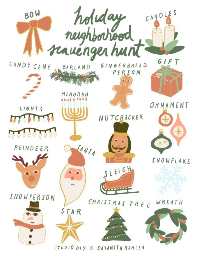 Neighborhood Holiday Scavenger Hunt (Free Printable!)