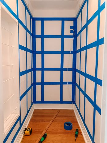 Painter's Tape Grid on Wall for Wallpaper