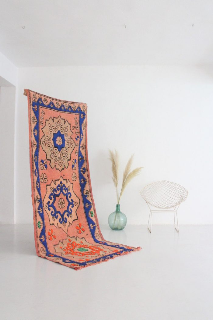 Peach and Blue Boujaad Rug