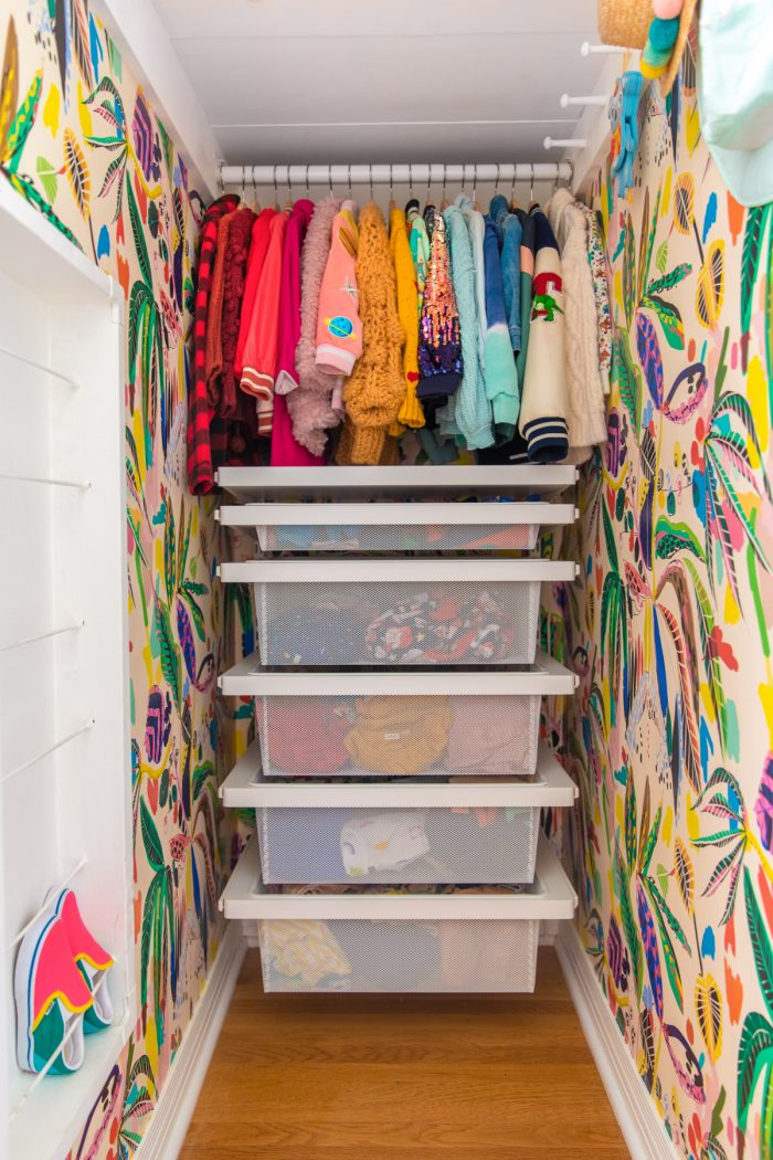 Long Narrow Kids Closet with Tropical Wallpaper
