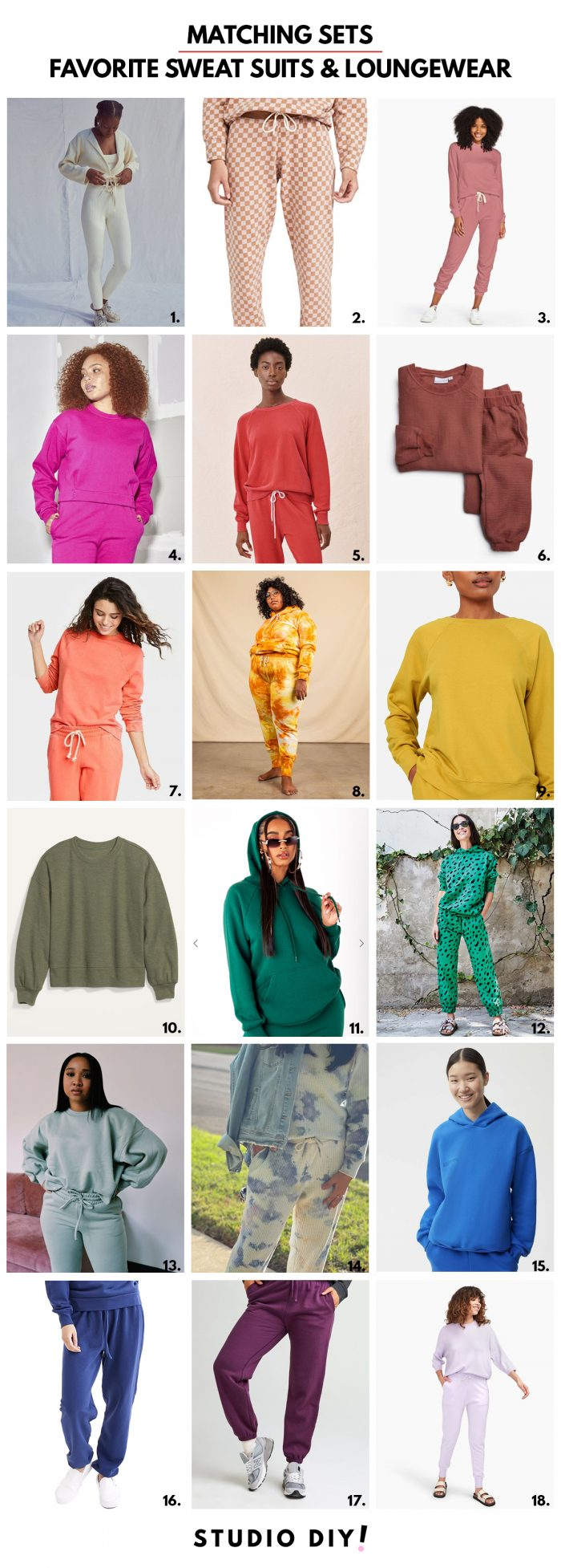 Matching Sweat Suits and Loungewear in Rainbow Colors