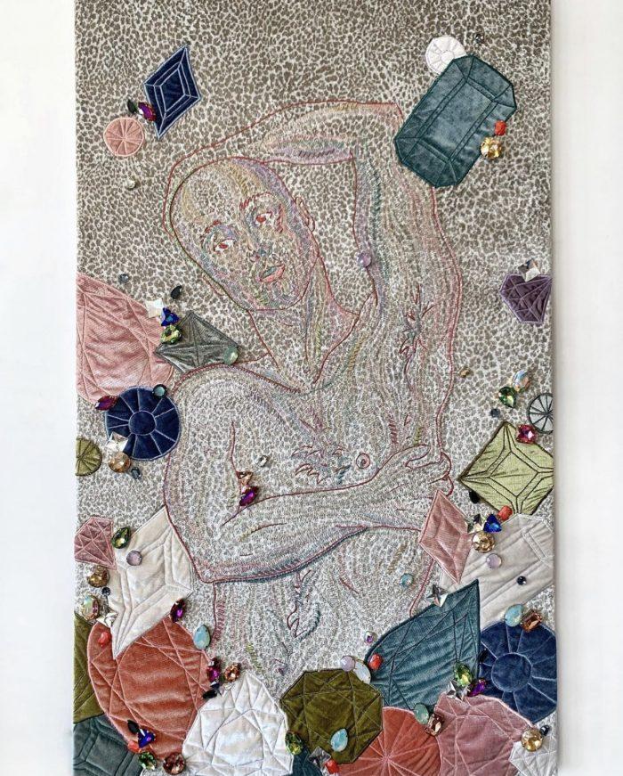 Michael Birch Pierce Embroidered Portrait on Velvet
