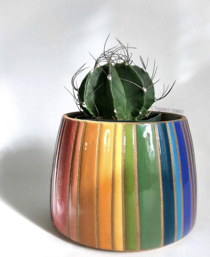 Rainbow Ceramic Planter Designed by Christine Tenenholtz