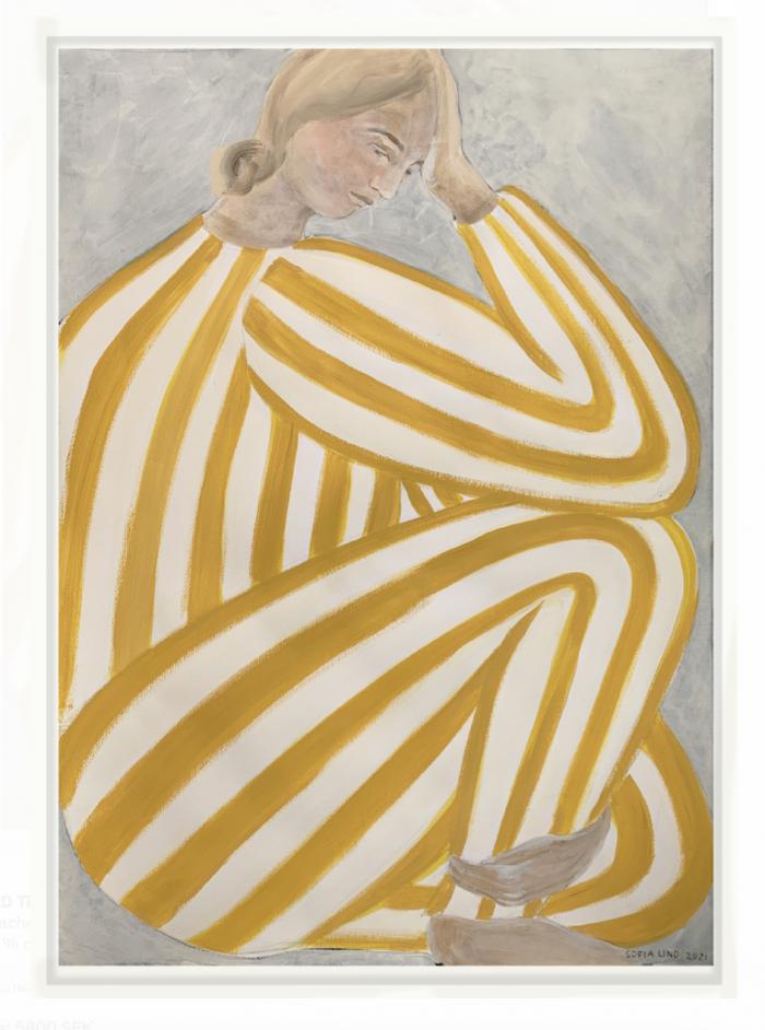 Yellow Stripe Sofia Lind Original Art