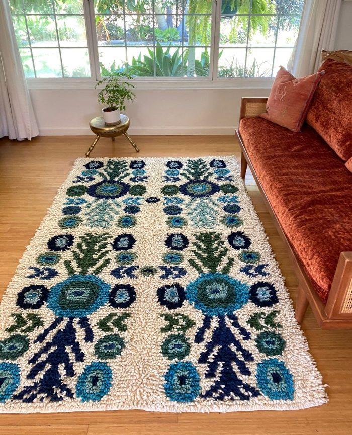 Blue Floral Guatemalan Rug