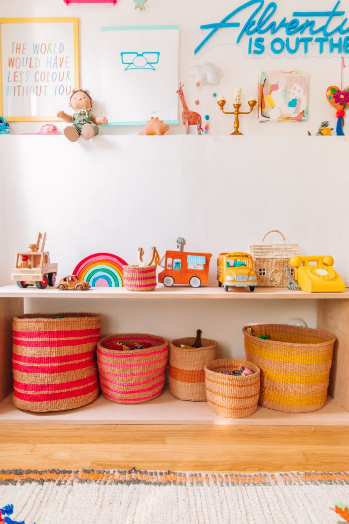 DIY Montessori Style Wood Toy Shelf