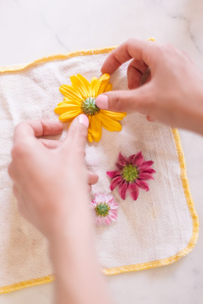 Placing Flowers on Cloth To Microwave