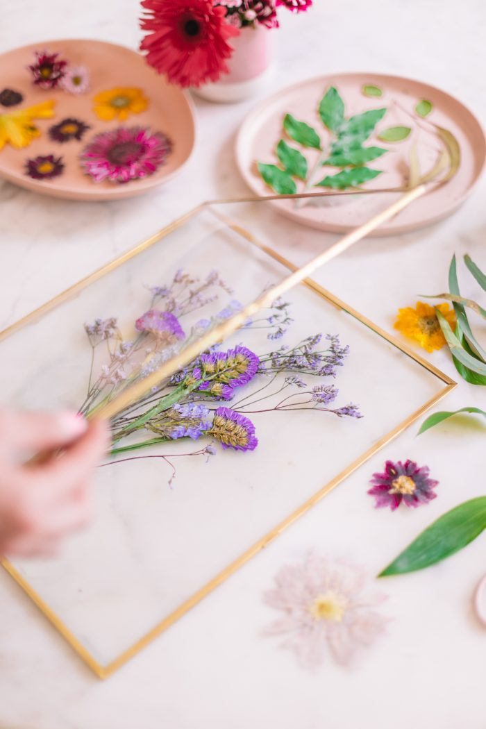 Pressed purple botanical bouquet in frame