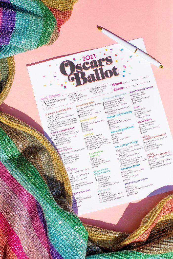 Printable 2021 Oscar Ballot