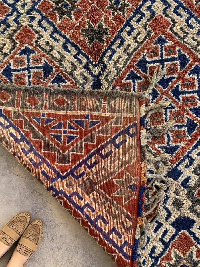 Blue and Terracotta Moroccan Marmoucha Rug