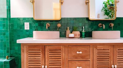 Green and Pink Zellige Tile Bathroom