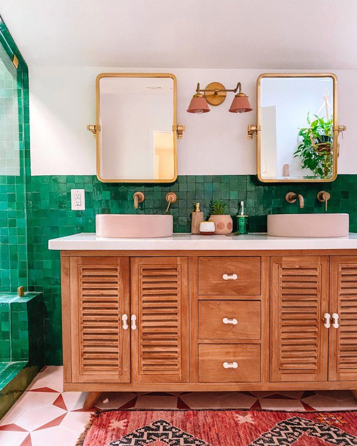 Green and Pink Zellige Tile Bathroom
