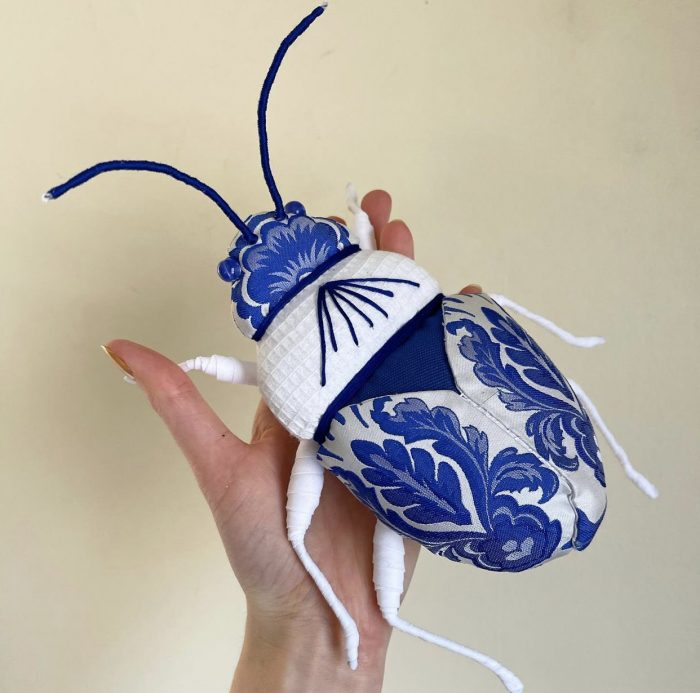 Molly Burgess Designs Blue and White Beetle
