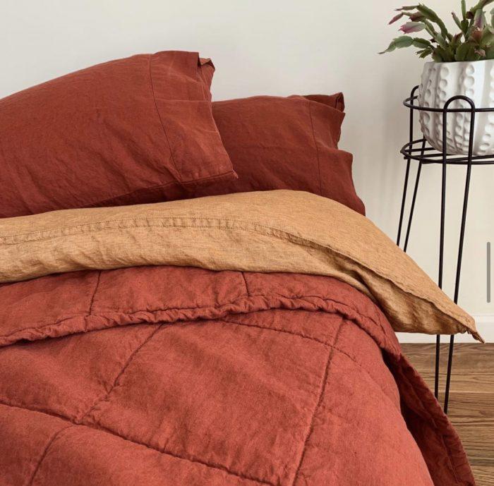 Orange and Terracotta Linen Bedding