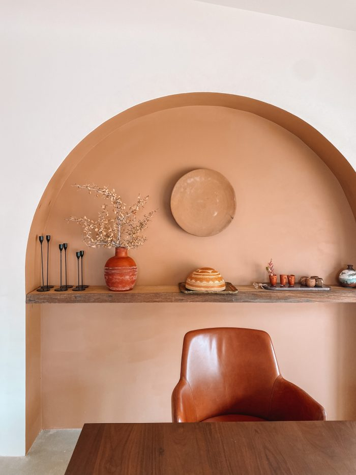 Arch Shelf in Dining Room at Oeste in Yucca Valley