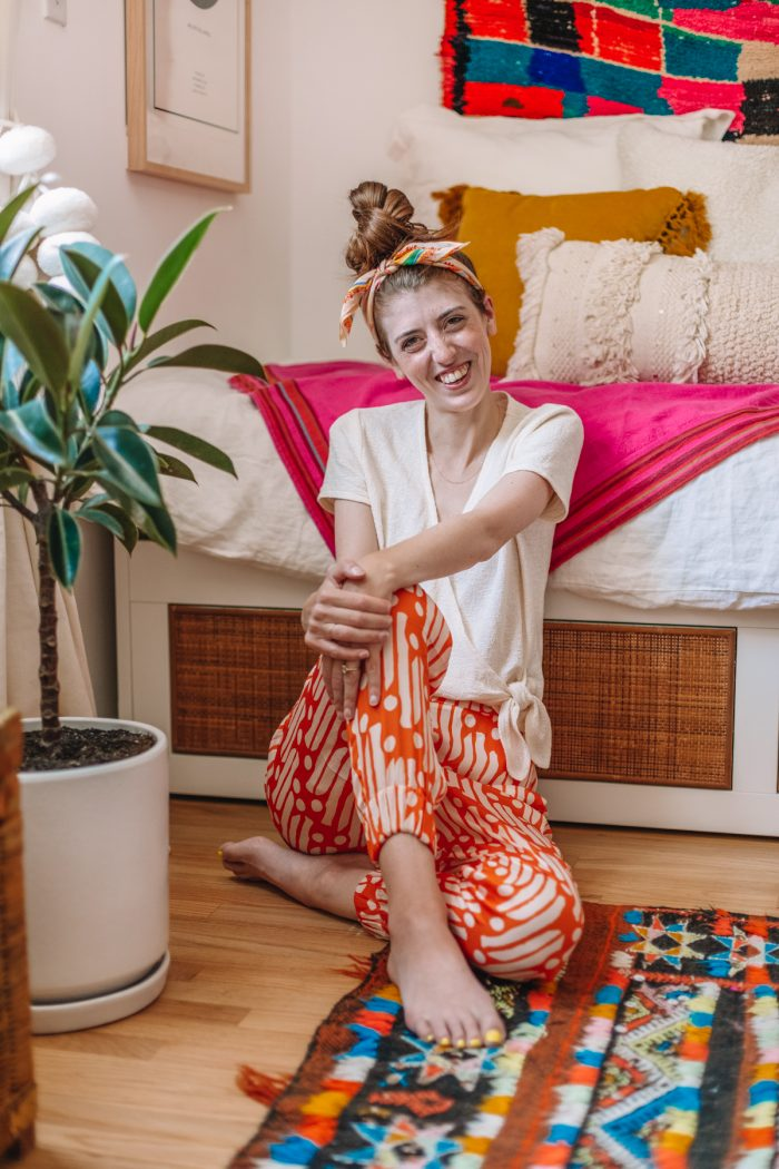 Kelly Mindell in her colorful home office and guest room