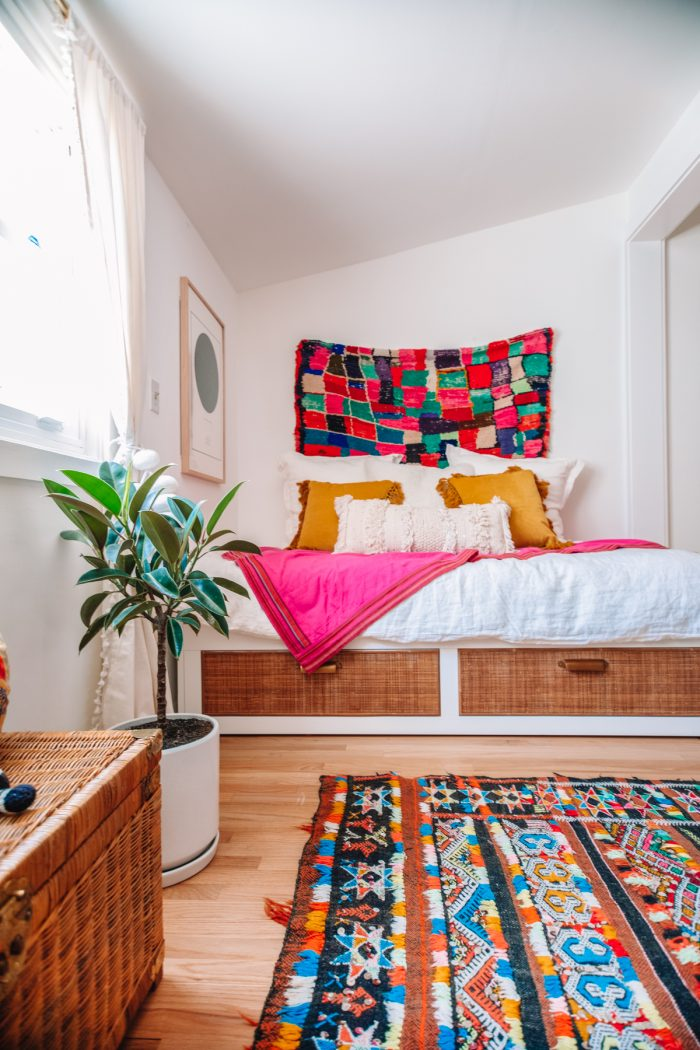IKEA Hack Cane Day Bed with Moroccan Rugs in a Guest Room