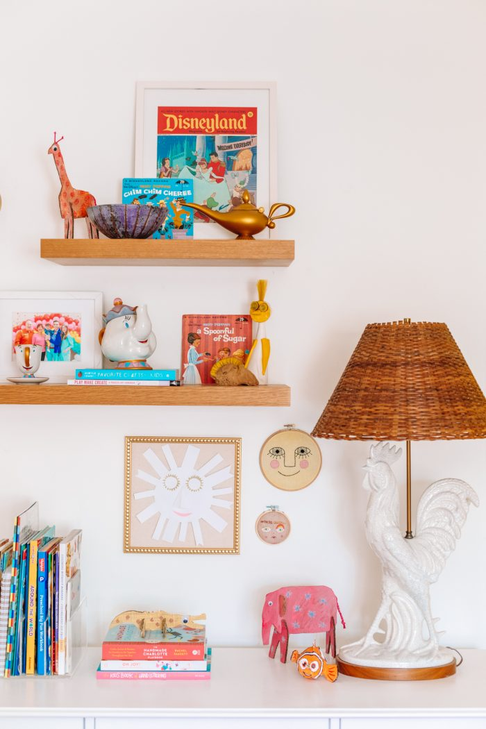 Oak floating shelves in an office and guest room