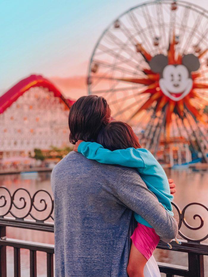 Dad and Son at Pixar Pier Disney California Adventure