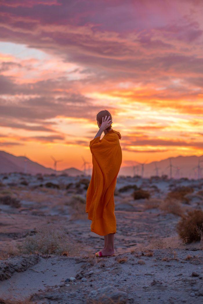 Yellow Dress Against Desert Sunset in Palm Springs