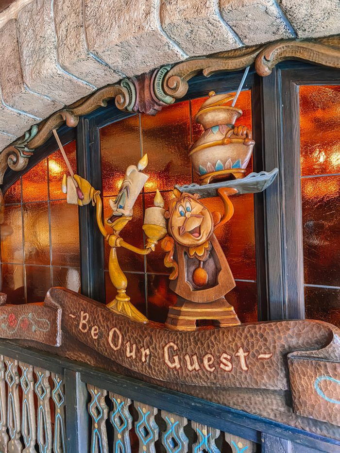 Be Our Guest Disneyland Restaurant with Lumber and Cogsworth