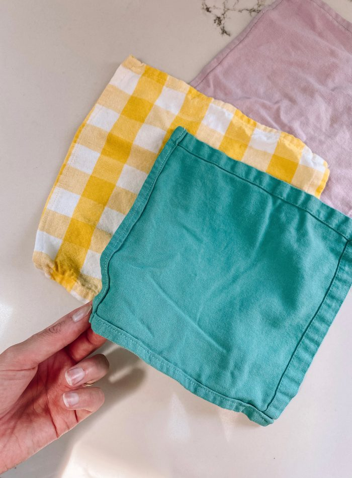 Small square napkins made from larger napkins
