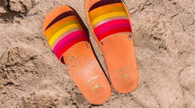 Rainbow Stripe Sandals in the Sand