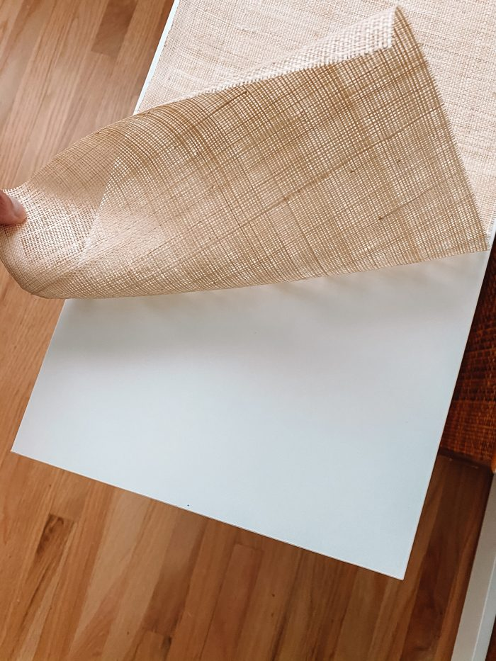 Gluing grasscloth to white drawer