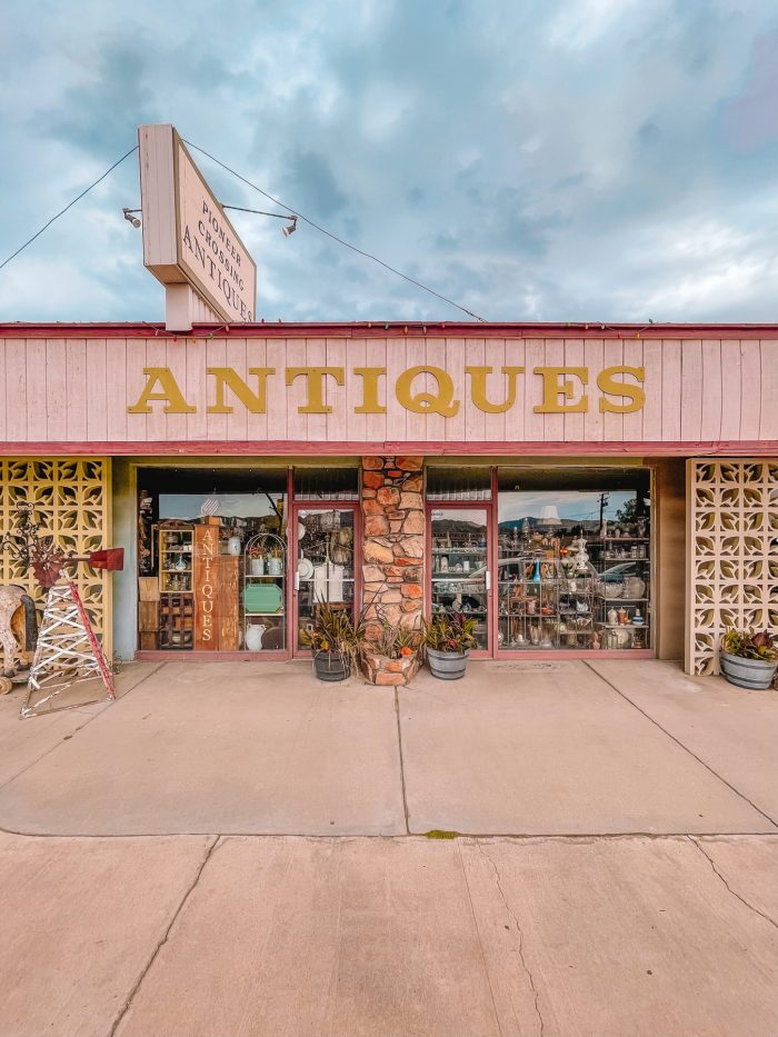 Pioneer Crossing Antiques Storefront in Yucca Valley