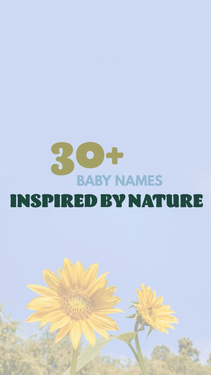 Nature Baby Names Text Above Yellow Sunflower Against Blue Sky