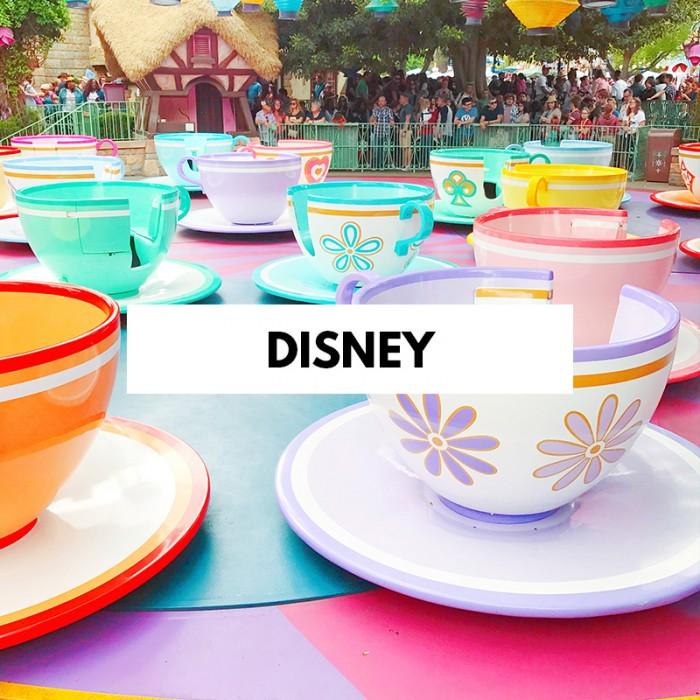 Disneyland Teacups with Disney text on top