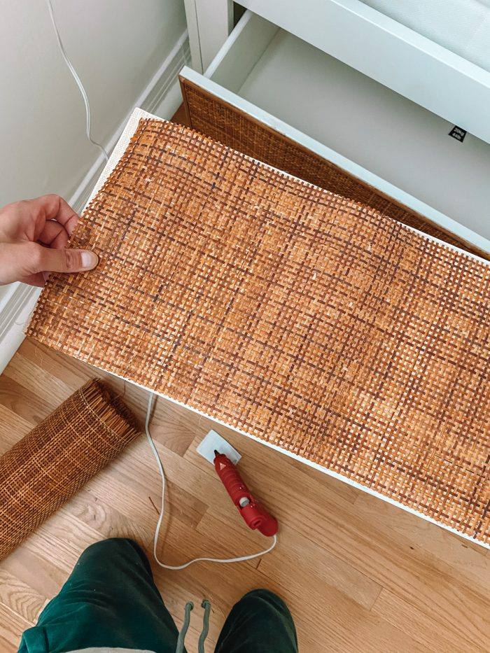 Gluing rattan cane webbing to IKEA drawer front with hot glue gun