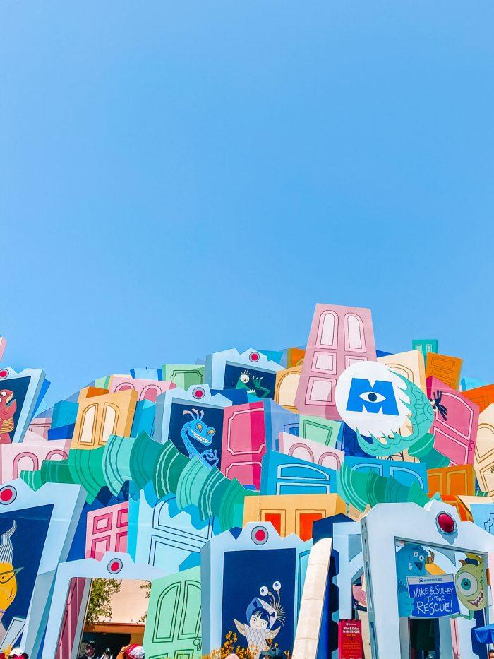 Monsters Inc ride facade at Disneyland against blue sky