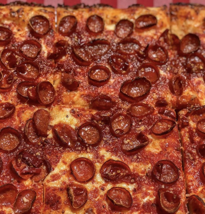 Spicy Pepperoni Pizza pie close up