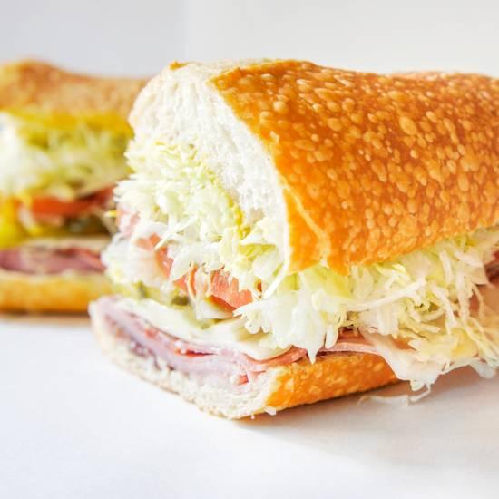 Italian sub sandwich on a white background