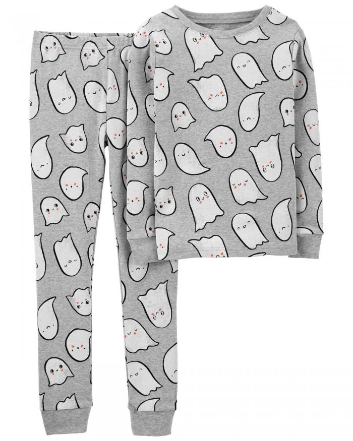 gray ghost pajamas on white background
