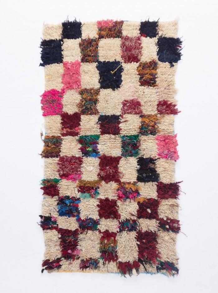 Multicolor Check Moroccan Boucherouite Rug on white background
