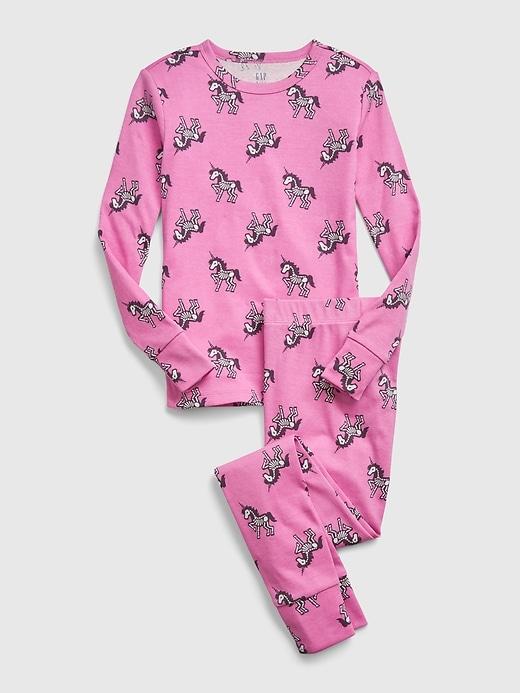 pink unicorn skeleton pajamas on white background