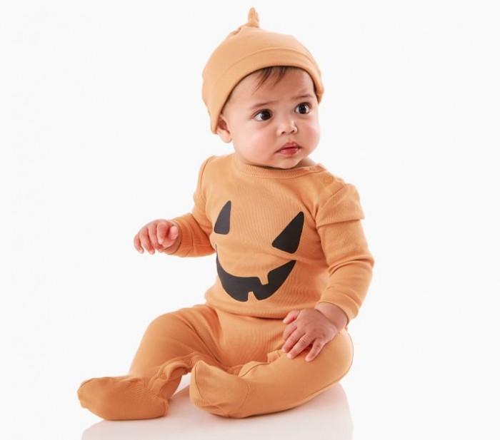 Baby in jack-o-lantern pajamas